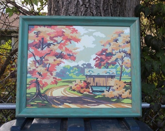 Paint by Number Fall Autumn Covered Bridge Landscape Trees Large 16 x 20 PBN Framed Vintage