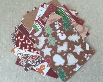 Christmas Scrapbook Paper Pack in Gingerbread Browns, Card Making Supply, Mixed Media Art, Paper Sheets Stack - 3.5 inches square, Set of 55