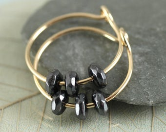 Goldfill Hoops - 14 ct Gold Filled Sleeper Earrings with Heamatite Beads