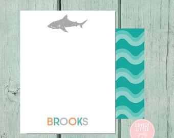 Shark Stationery, Kids Stationery, Shark Personalized Notecards, Kids notecards, Boy Birthday Gift, Boys Gift - Lovely Little Party
