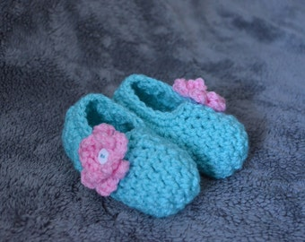 Toddler Aqua and Pink Flower Crochet Slippers -house shoes