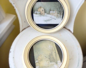Old Antique Wood Frames With Pictures of Stone Houses
