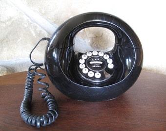 Working Doughnut Phone, Handbag Phone, Black Pulse/Tone Vintage Phone, PF Product, Donut Phone, Telephone, Modern, Retro