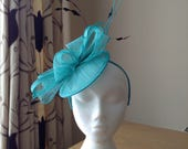 Jade Green Sinamay Disc Fascinator with Quills and Black Chevron Feathers on a Hairband Weddings Races Kentucky Derby Ascot, Melbourn