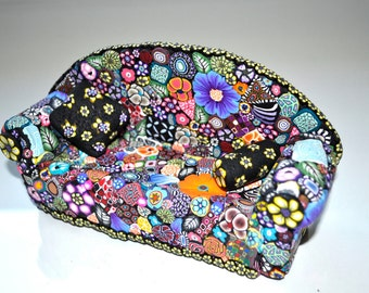Business Card Holder, Glasses Holder, iPhone Holder, LARGE Couch, Sofa,  Mille Fiori, Polymer Clay