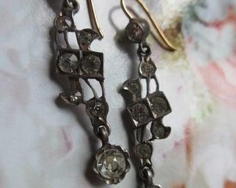 Antique Paste Pierced Earrings - 10k Gold Wires - Paste Drop Earrings - 1900s Earrings - Bridal Jewelry - Wedding Earrings - Romantic Gifts