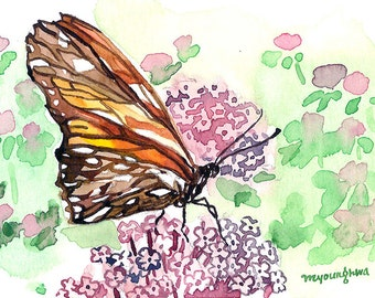ACEO Limited Edition 2/25- Butterfly in Karen's garden, Art print of ACEO watercolor, Gift idea for her, Garden glory