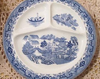 Vintage Bailey Walker Blue Willow Restaurant Ware Grill Plate, 1928