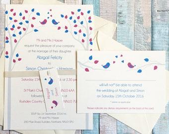 Bird wedding invitation sample