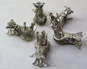 Antique Metal Christmas Tree Candle Holders Set of Five Ornate Design Holiday Candles or Crafts