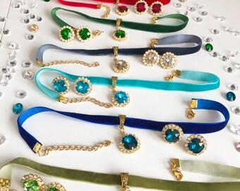 Swarovski Crystal Gem Choker necklace, Crystal choker jewelry