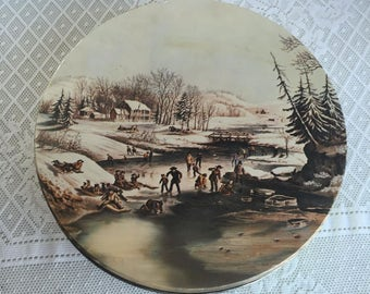 Metal Container / Vintage Currier and Ives Cookie Tin / Christmas Decor / Kitchen Storage