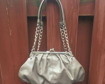 Candie's  Brown Purse / Vintage Handbag with Chain Link Strap / Shoulder Bag with Gold Hardware