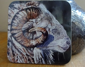 Sheep Ram Wooden Coasters with a High Gloss Finish - Wipeable durable 9cm x 9cm printed sheep art coasters available as a single or a pair