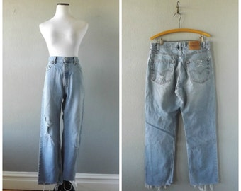 Thrashed Levis Jeans Faded Light Blue Distressed Denim Pants 34 Waist Mullet Ankle Hem Hipster Boho Worn In High Waist Trousers 90s Hippie