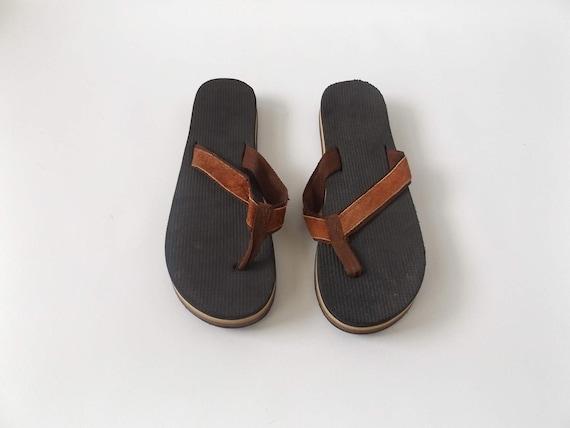cdb7ddc2cd49a2 brown stripe 80s flip flops vintage mens size 11 thong  AD135653 ...