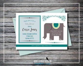 Printable Baby Shower Invitation - Chic Elephant - 5x7 invitation - Custom Color