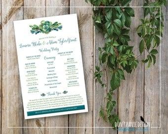 Printable Wedding Program - Green Teal Succulent Wedding Program - Garden Wedding - Outdoor Wedding - Summer Wedding Program