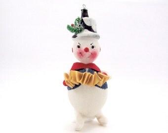 1960s Snowman Christmas Ornament Italian Figural Glass Snowman Vintage Christmas Decoration