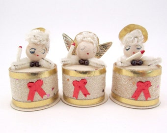 1950s Cardboard Angel Christmas Decorations Spun cotton Heads Retro Kitsch