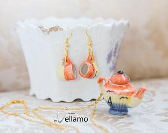 Cute shabby chic jewelry set, miniature teacup earrings, teapot pendant, tropical design, miniature porcelain tea cups, dainty jewelry set