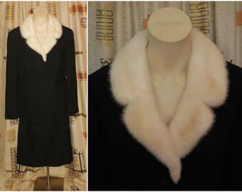 SALE Vintage Women's Wool and Fur Suit  1960s 70s Black Wool Skirt Suit White Mink Fur Collar Gorgeous Sleek Mink Fur L chest to 42