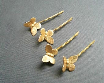 Four Gold Toned Bobby Pin Set Butterfly Hair Pin Set of 4 Gold Toned Bobby Pins Simple Natural Vintage Style Woodland