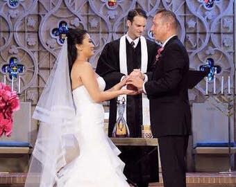 Wedding veil 2 tier veil with double horsehair wedding veil waltz length veil drop veil with double horsehair