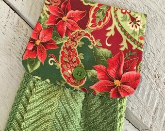 ON SALE Hanging Kitchen Towel  - Christmas Paisley Poinsettia Gold Shimmer Outline Green Stripe Terry Cloth Towel Button Closure