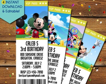 Mickey Mouse Clubhouse Invitations, Mickey Mouse Ticket Invitations, Mickey Mouse Clubhouse Birthday, Mickey Mouse Clubhouse Party