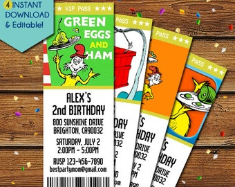 Green Eggs and Ham Invitations, Green Eggs and Ham Birthday Invitation, Green Eggs and Ham Party Invite, Dr Seuss Baby Shower Invitations,