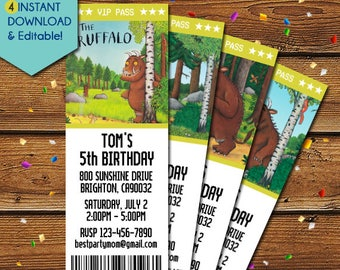 Gruffalo Invitations, Gruffalo Birthday Invitation, Gruffalo Party Invitations, Gruffalo Party Invite, Gruffalo Invite, Julia Donaldson