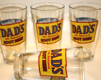 Dad's Root Beer Since 1937 Old Fashioned Soda Pop Set 4 Glasses Drinking Glass Barware Set