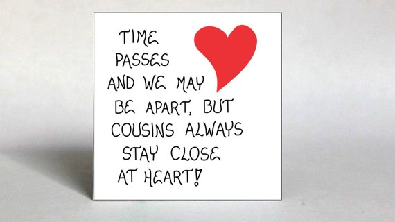 Special Cousin Refrigerator Magnet - Quote about close relatives, red heart design