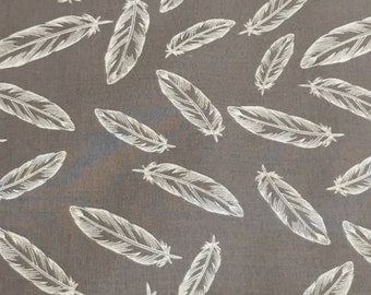 grey feather fabric