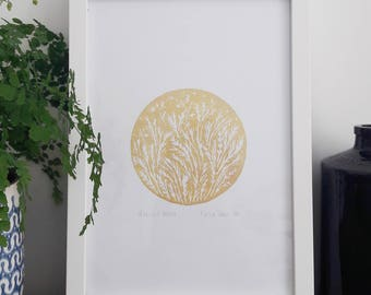 Harvest Moon Gold Lino Print