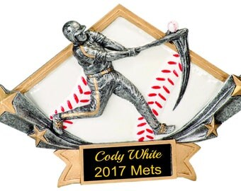 "Male Baseball Trophy, 8 1/2"" x 5 3/4"" Male Baseball Diamond , Star Resin"