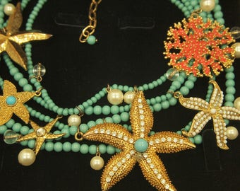 Turquoise Bead Sea Life Necklace - High Fashion - Rhinestone Starfish - Enamel Coral - Glossy Pearls - Beach Cruise - length 17-20.5""