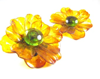 Big Flower Earrings Cellulose Acetate Clip On Poppies Golden Petals Green Button Centers Spring Sale