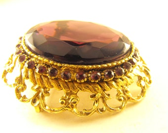 Brooch Large Purple Faceted Glass Renaissance Revival Style Gold Tone Mount