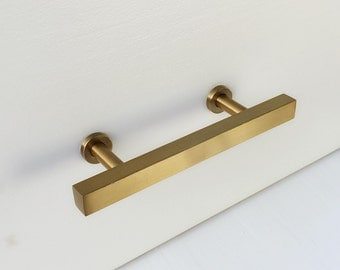 "3"" Brass Drawer Pul European. Cabinet Knobs. T-Bar Brass Drawer Pulls"