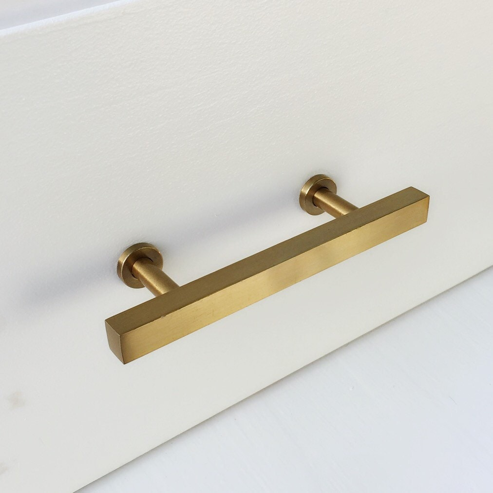 3 brass drawer pul european cabinet knobs t bar brass for Kitchen knobs and pulls for cabinets