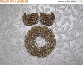 """55% STORE WIDE SALE Round Brooch With Matching Earrings, Pearl Accents, Signed """"Crown Trifari"""""""