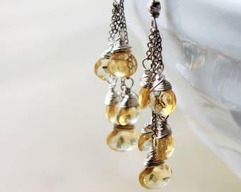 Citrine Earrings,  Sterling Silver, fine earrings with yellow gemstone, cluster earrings, chain earrings, gift, November birthstone