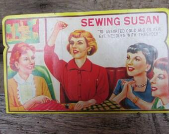 Sewing Susan Needles, Vintage Sewing Needles, 50's Needle Card
