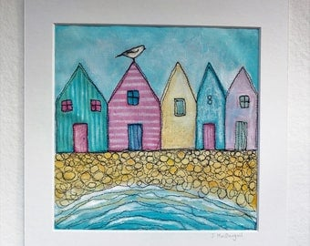 Beach huts, original textile art, painting and machine embroidery