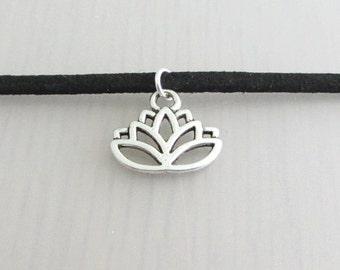 Silver Lotus Flower Charm Black Faux Suede Choker Necklace, 3mm Width Black Faux Suede Choker Necklace, Lotus Charm Necklace, Flower Choker