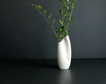 Vintage Mod Style Vase Mid Century Hand Made Ceramic White Turquoise Moss Green