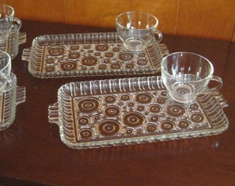 Vintage Anchor Hocking Glass Snack Set, Art Deco Design, Sandwich Plates, Dessert Sets, Entertaining