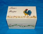 Rooster Recipe Box Wood Recipe Card Box Hand Painted Decorative Wood Box 4x6 Personalized 3x5 Housewarming Gift